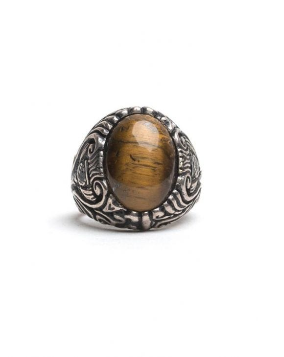 OVAL FLORAL STONE RING