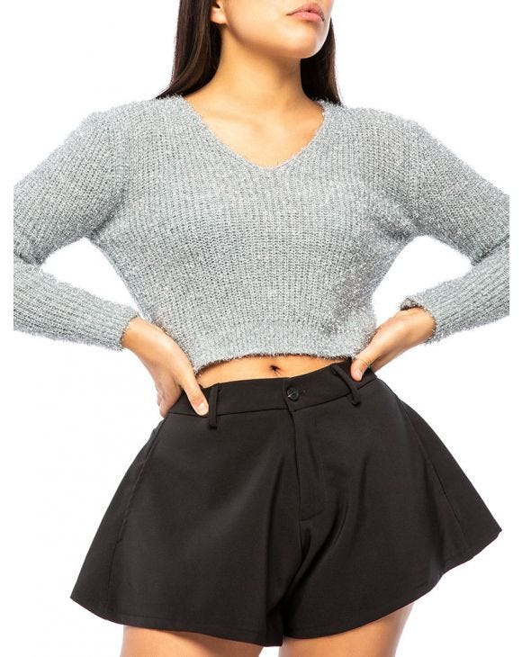 CHERI LUREX SWEATER IN SILVER