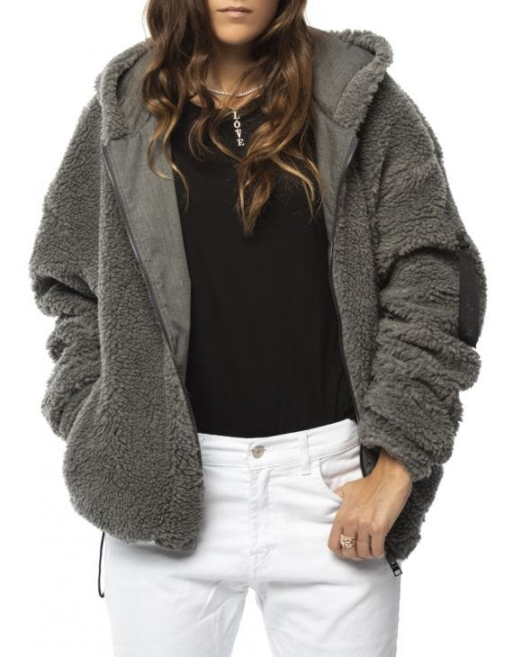 WMN JUSTIN SHEARLING JACKET IN GREY
