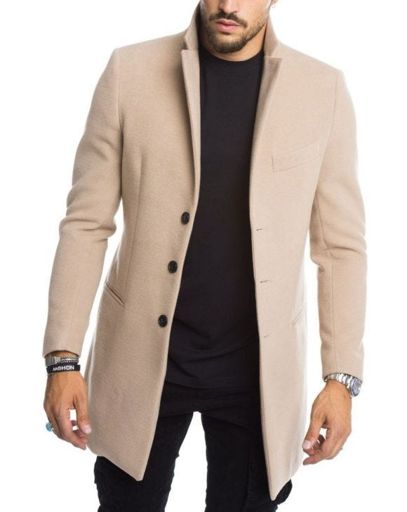 SEATTLE SINGLE BREASTED COAT IN BEIGE