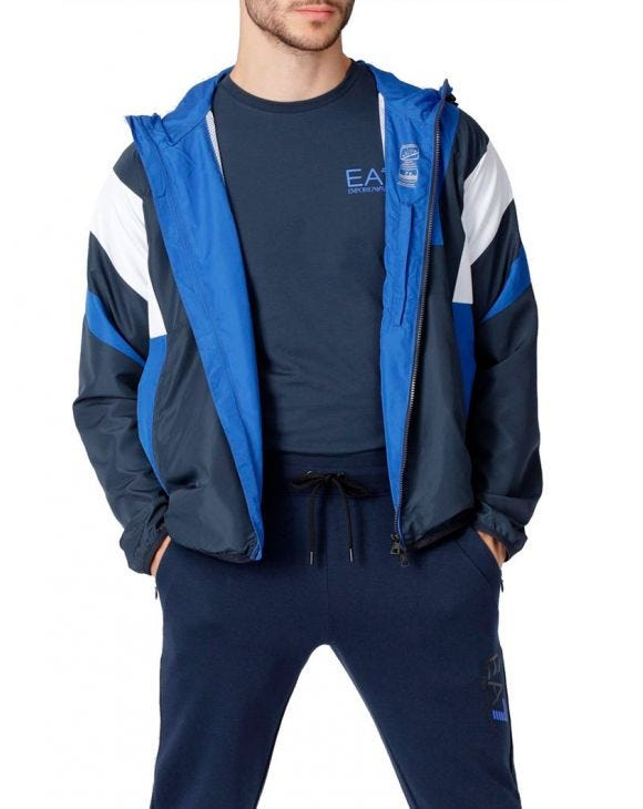 EA7 WATERPROOF JACKET IN BLUE AND WHITE