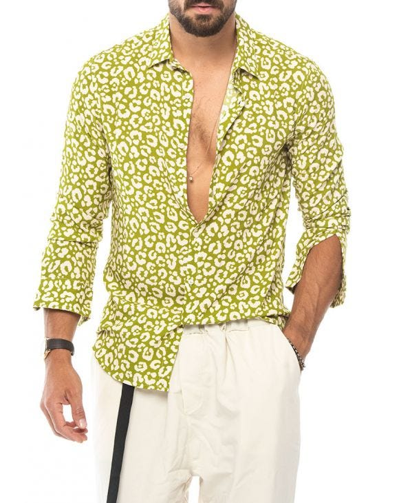 LEOPARD PRINTED SHIRT IN LIME