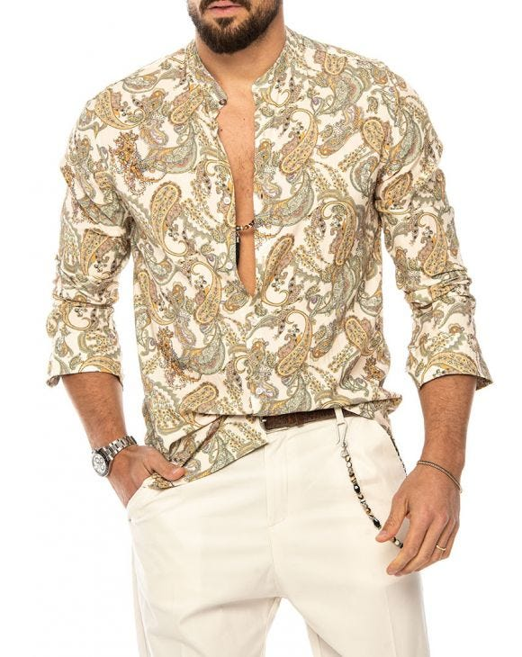DUME PAISLEY PRINTED SHIRT IN BEIGE