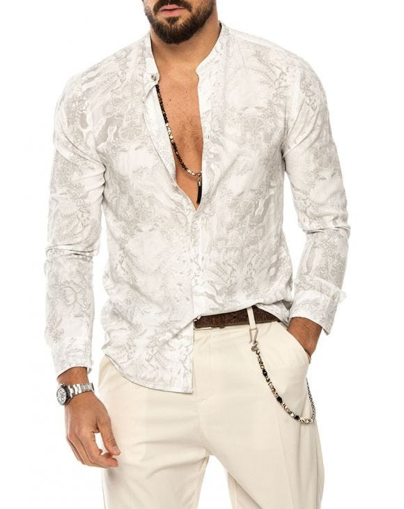 TAHIR PRINTED SHIRT IN WHITE