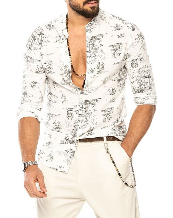 TOMI PRINTED SHIRT IN WHITE AND BLACK