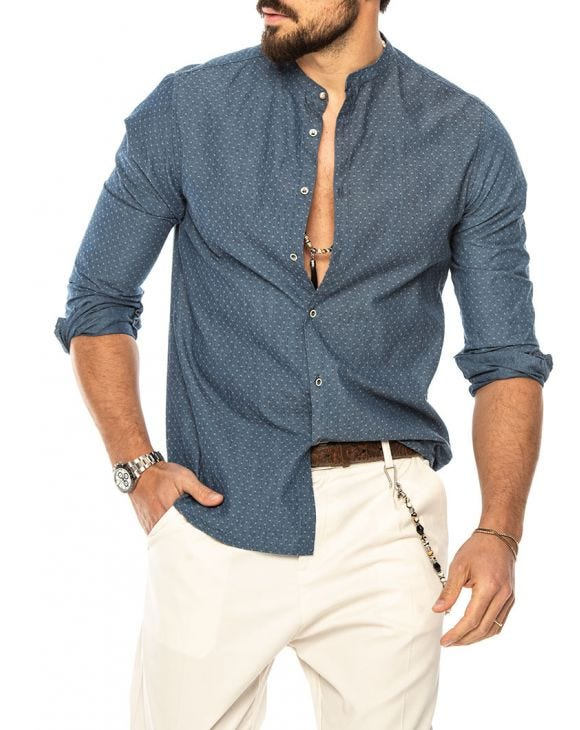 ETHAN DENIM SHIRT IN BLUE