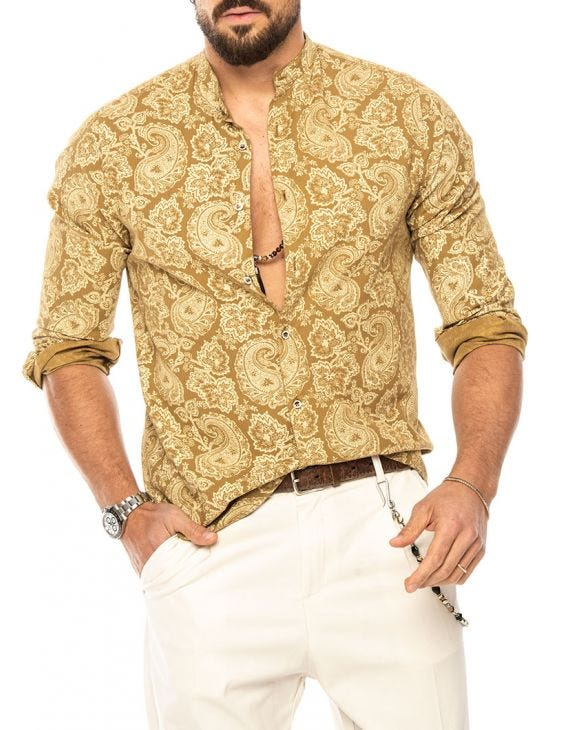 CADEN PRINTED SHIRT IN MUSTARD