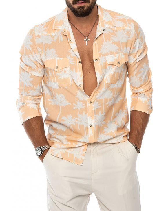 CHASE POCKET SHIRT IN PEACH