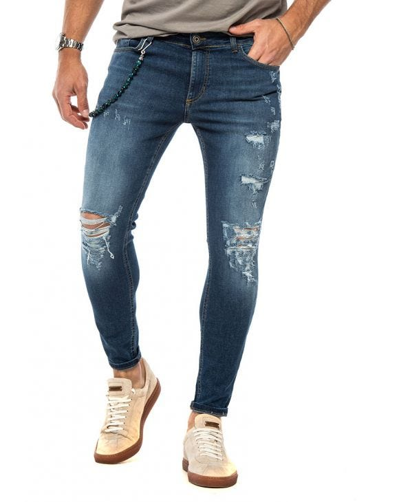 JASE DISTRESSED JEANS IN BLUE