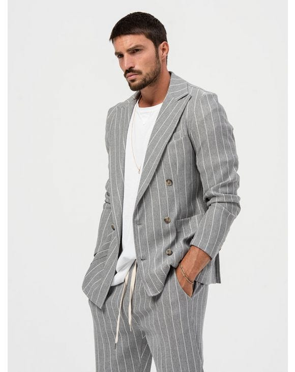 ALBUS DOUBLE BREASTED BLAZER IN STRIPED GREY