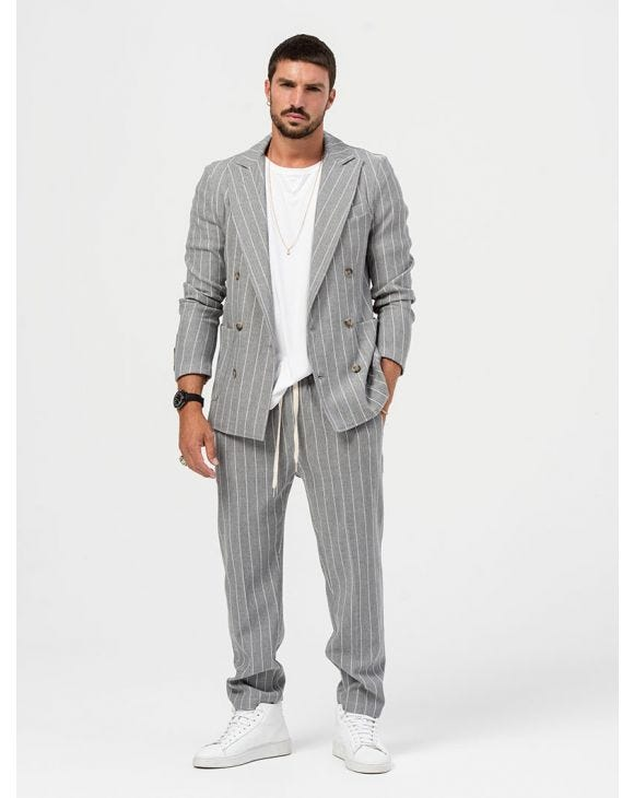 ALBUS DOUBLE BREASTED SUIT IN STRIPED GREY