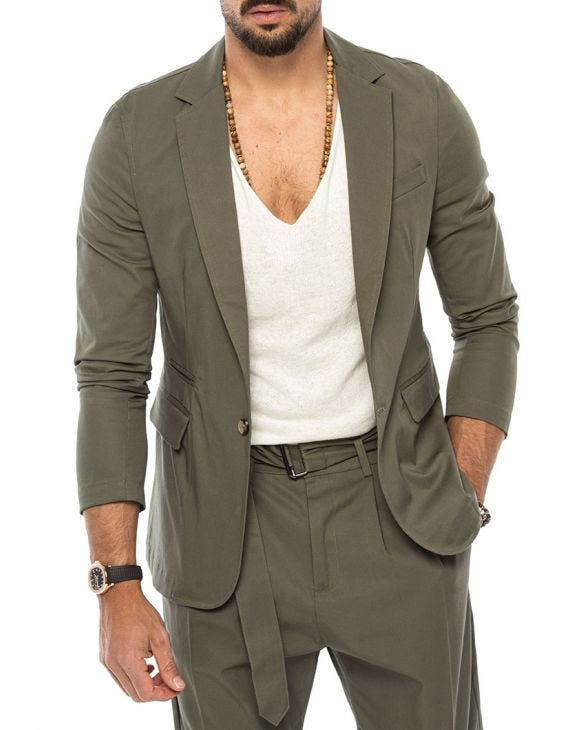 JAXON SINGLE BREASTED BLAZER IN GREEN
