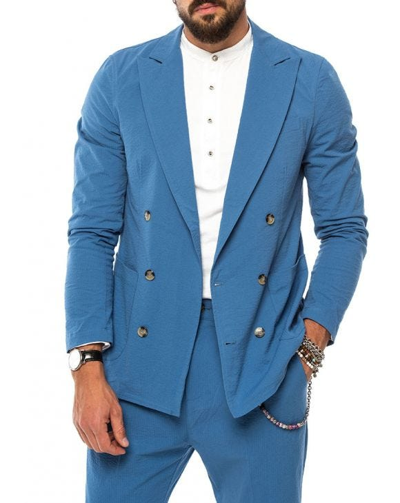 DUBAI DOUBLE BREASTED BLAZER IN BLUE AVIO