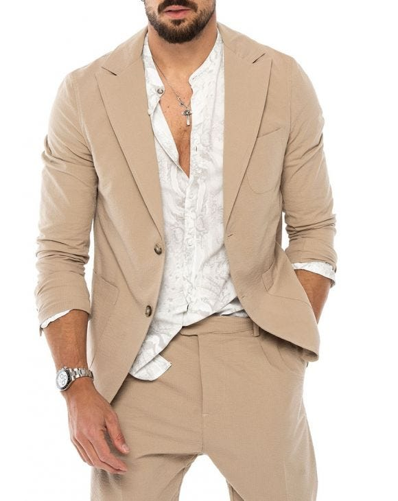 DUBAI SINGLE BREASTED BLAZER IN BEIGE
