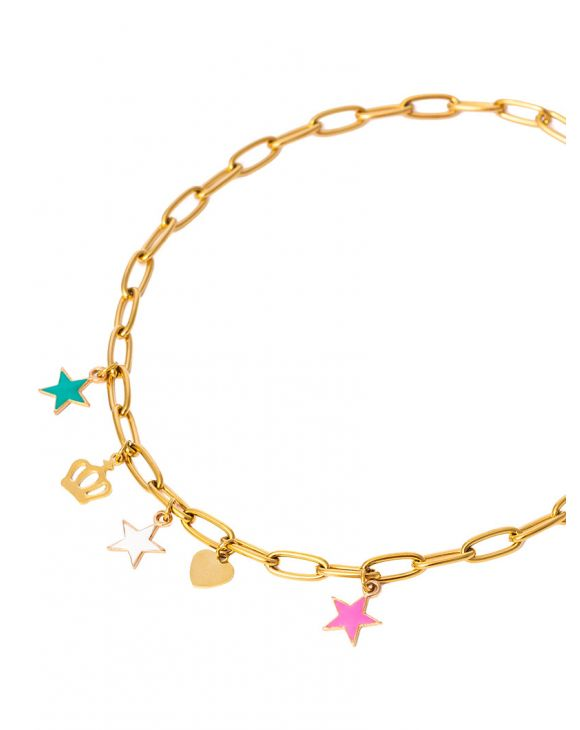 MARIA CHAIN NECKLACE IN GOLD COLOR WITH CHARMS