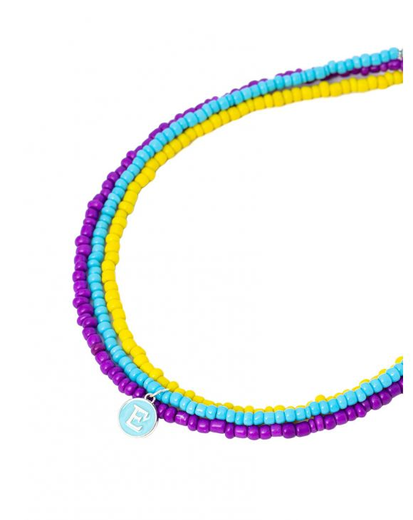 LANE NECKLACE IN PURPLE, YELLOW AND LIGHT BLUE