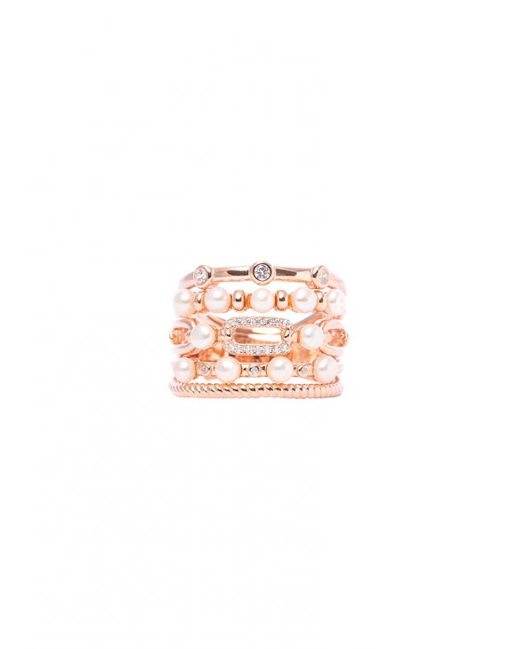 MACY RING IN ROSE GOLD WITH PEARLS
