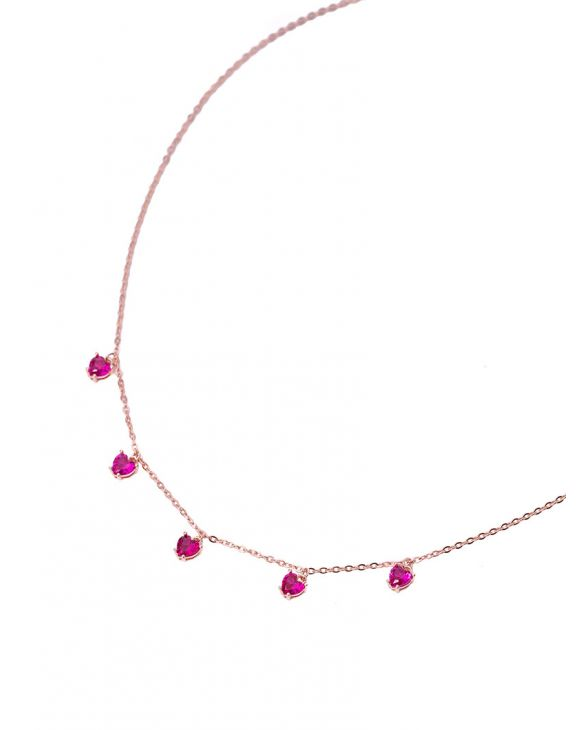 HEARTH NECKLACE IN ROSE GOLD AND FUCHSIA PENDANTS