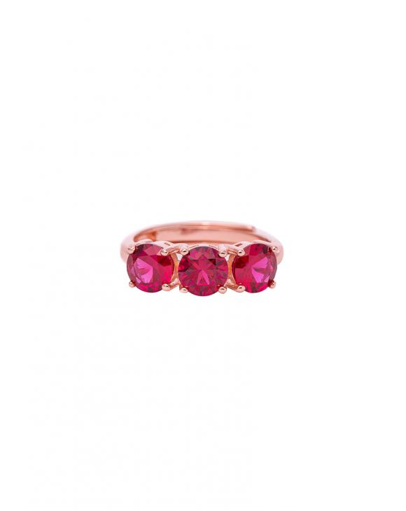 BEA RING IN ROSE GOLD WITH FUCHSIA ZIRCONS