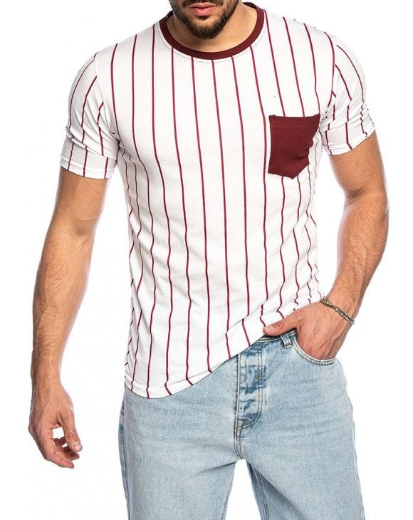 DARCIO STRIPED T-SHIRT IN WHITE AND RED