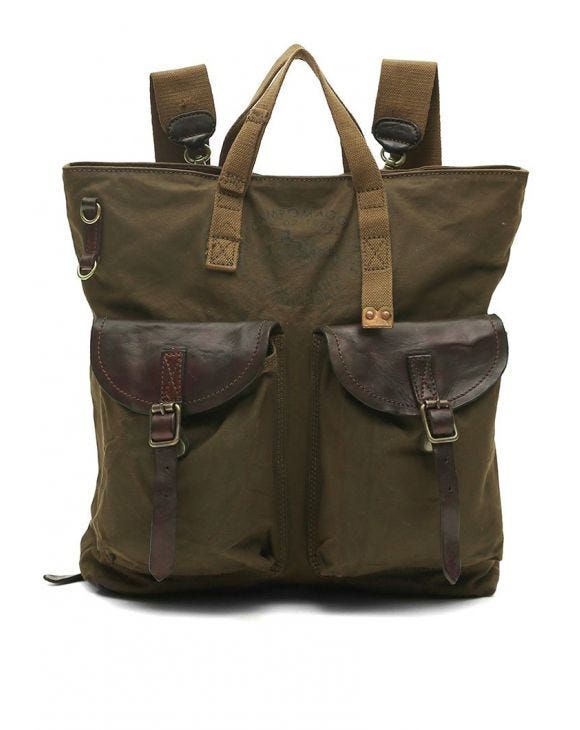 LEATHER SHOPPING BACKPACK IN MILITARY GREEN
