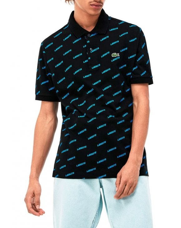LACOSTE POLO IN BLACK AND BLUE