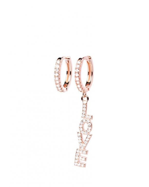 CAMERON EARRINGS IN ROSE GOLD WITH LOVE PENDANT AND ZIRCONS