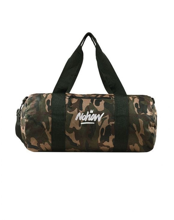 CAMO CANVAS BARREL BAG