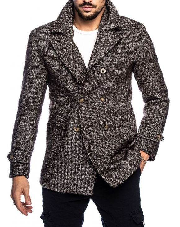 GRISMAN PEACOAT IN GREY AND BROWN