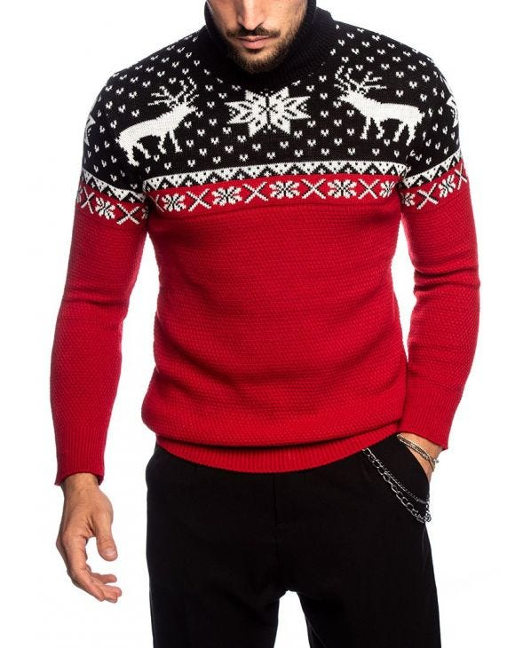 PADDINGTON ROLLNECK SWEATER IN BLACK AND RED