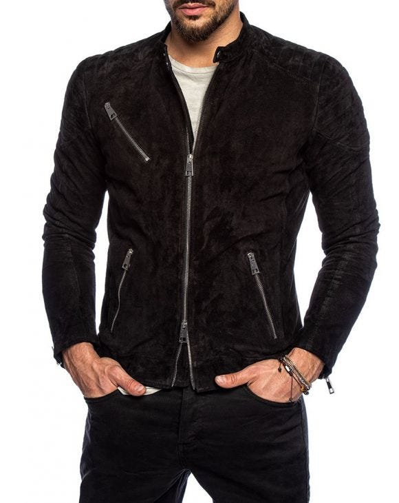 BRYCE LEATHER BIKER IN BLACK