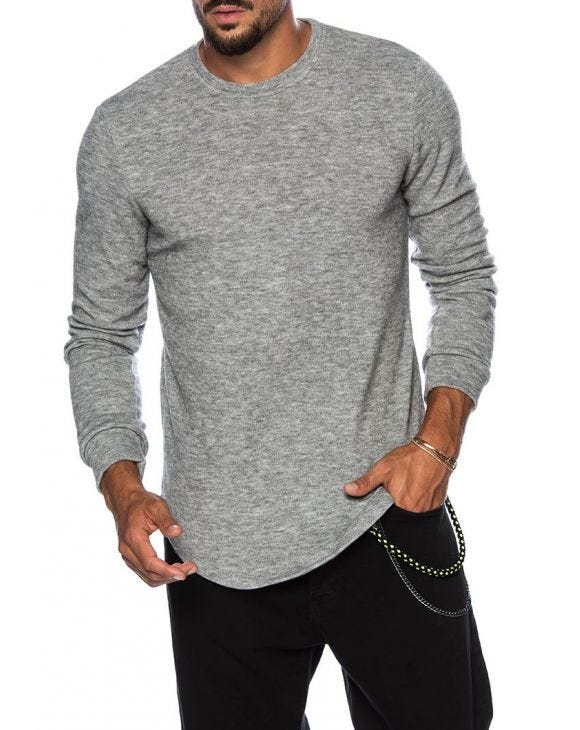 CHAD LONG SLEEVE T-SHIRT IN LIGHT GREY
