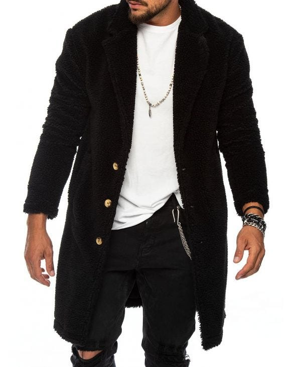 MIKE SHEARLING COAT IN BLACK