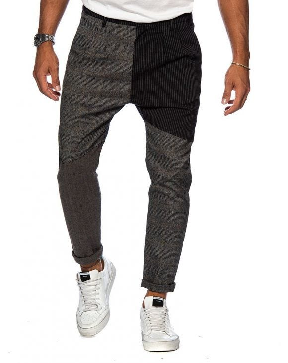 AUGUST PATCHWORK PANTS IN BLUE AND GREY