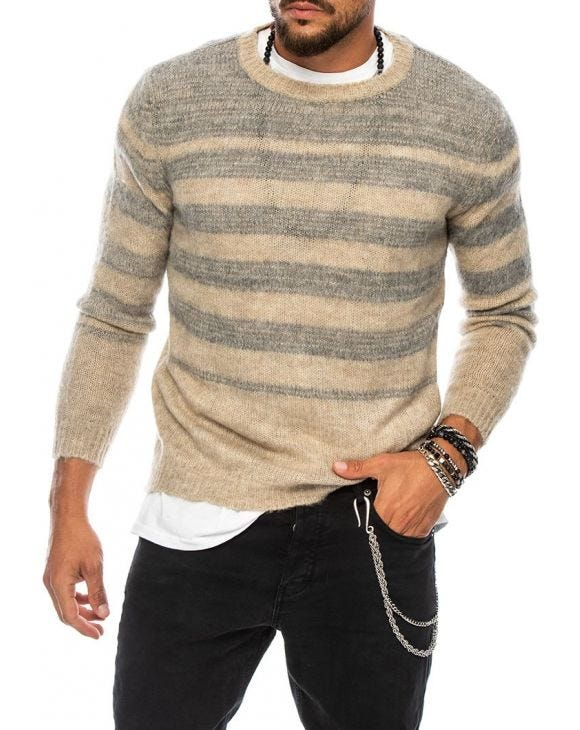 MACUMBA STRIPED SWEATER IN BEIGE AND GREY