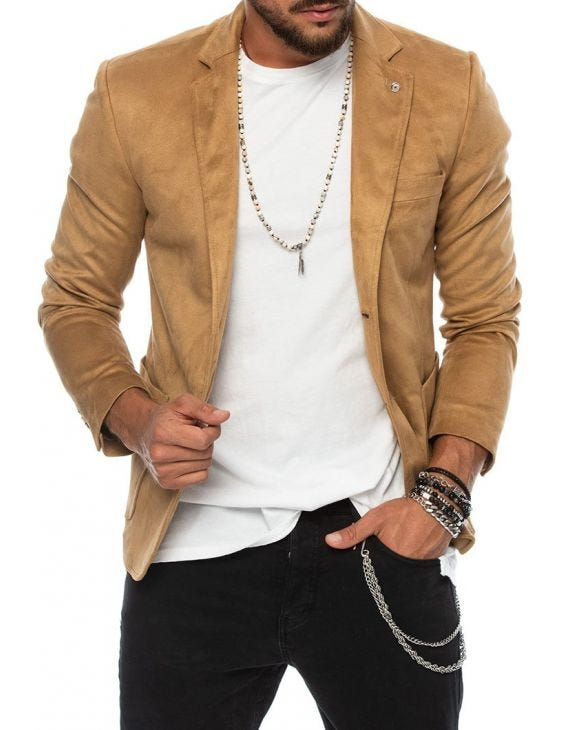 ZIGGY VELOUR BLAZER IN CAMEL
