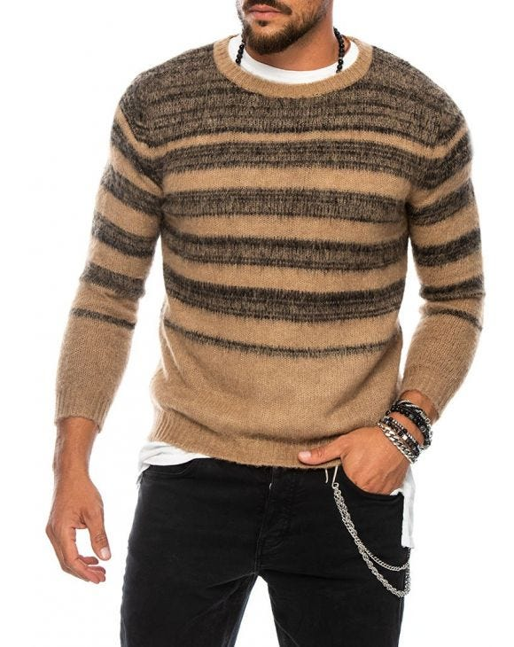 MACUMBA PULLOVER IN CAMMELLO E NERO