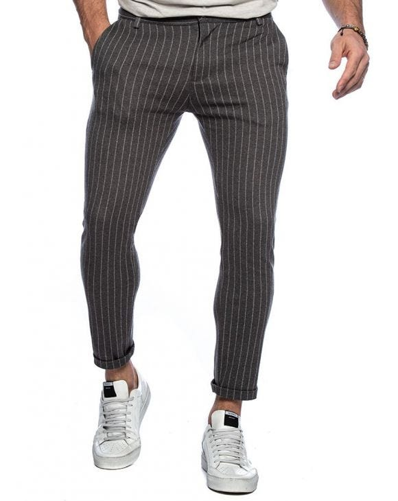 ANUBIS COTTON TROUSERS IN STRIPED GREY