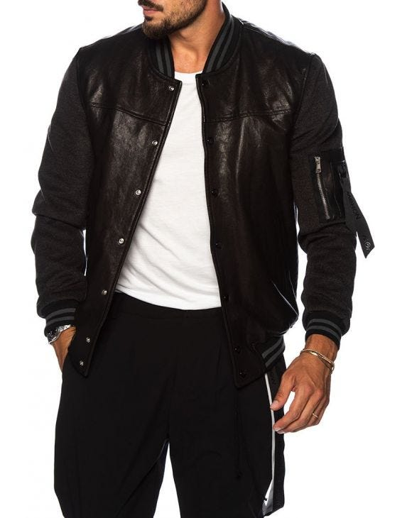 RUFUS BOMBER JACKET IN BLACK AND GREY