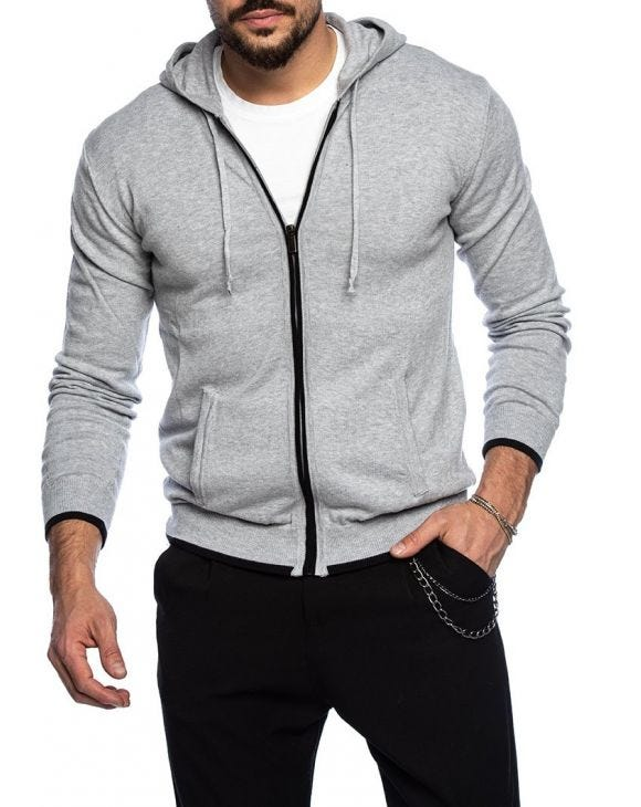 MALABO ZIP COTTON SWEATER IN GREY