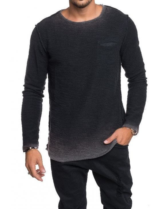 FLAMED REVERSE SWEATSHIRT IN BLACK