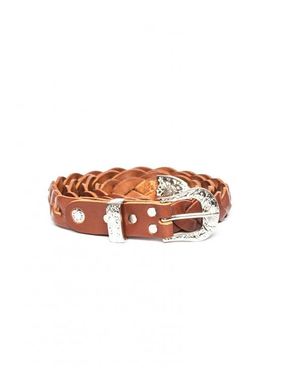 LEATHER TWISTED BELT IN BROWN