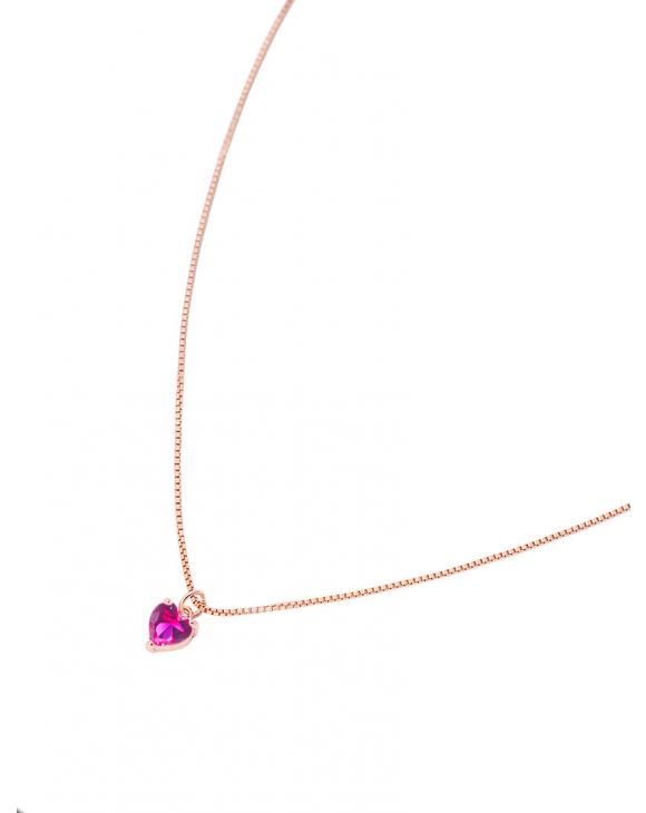 JANE HEART NECKLACE IN FUXIA