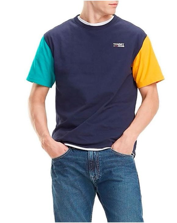 TJM COLOR BLOCK T-SHIRT IN SCHWARZ
