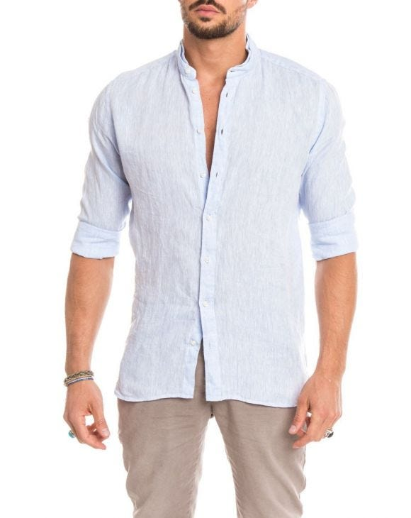 SKY LINEN KOREAN SHIRT