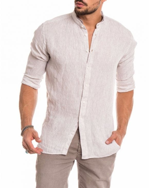 BEIGE LINEN KOREAN SHIRT