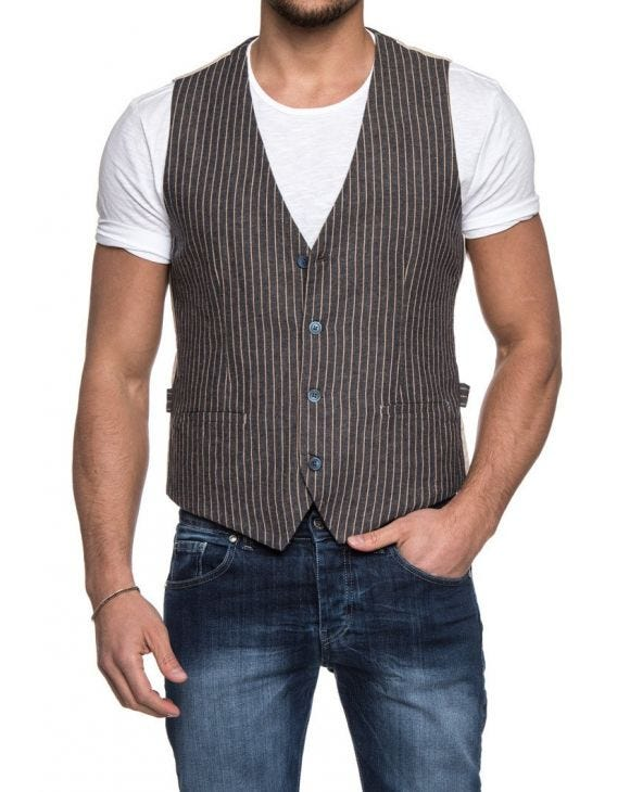 GREY STRIPED VEST