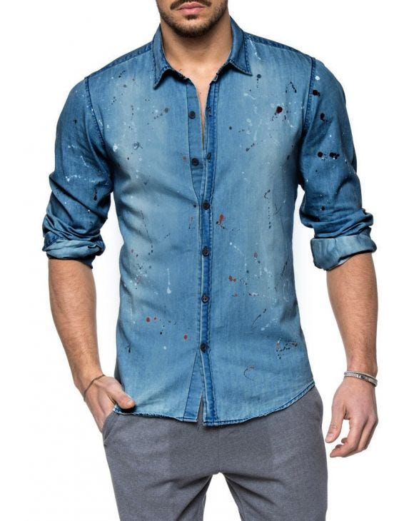 SPLATTER PAINT DENIM SHIRT