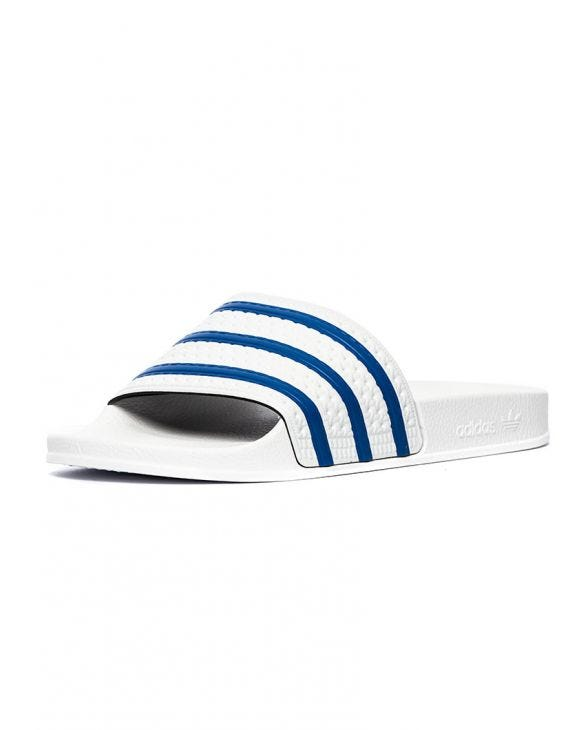 ADILETTE SANDALS IN WHITE AND BLUE