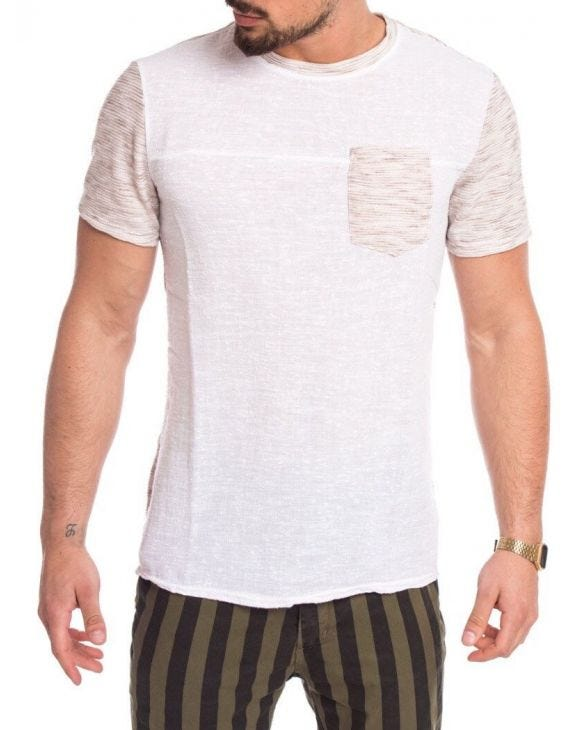 BEIGE AND WHITE POCKET T-SHIRT